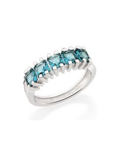 RHODIUM PLATED RING WITH CRYSTAL