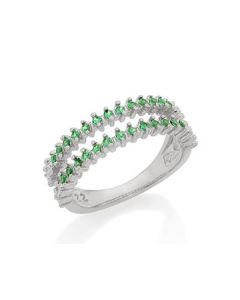 RHODIUM PLATED RING WITH ZIRCONIA