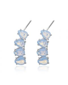 RHODIUM PLATED EARRING WITH CRYSTAL