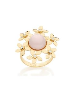 GOLD PLATED RING WITH PEARL AND ZIRCONIA