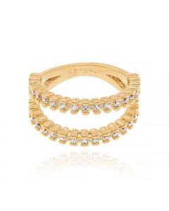 GOLD PLATED RING WITH ZIRCONIA