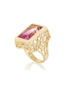 GOLD PLATED RING WITH CRYSTAL AND ZIRCONIA